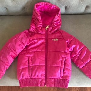 Hot pink north face coat